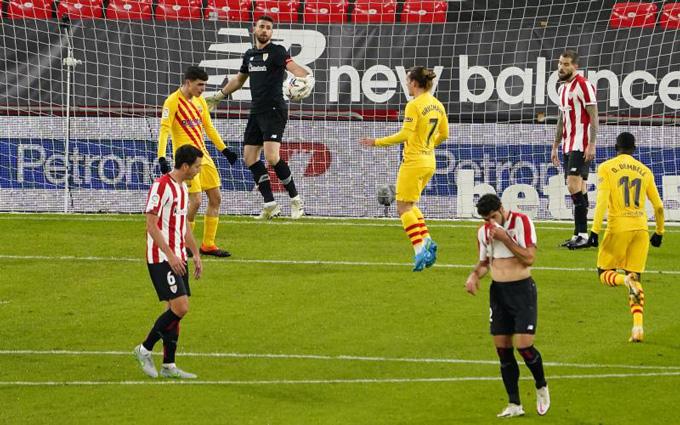 Pedri gỡ hòa 1-1 ở phút 14 trận đấu Bilbao vs Barca