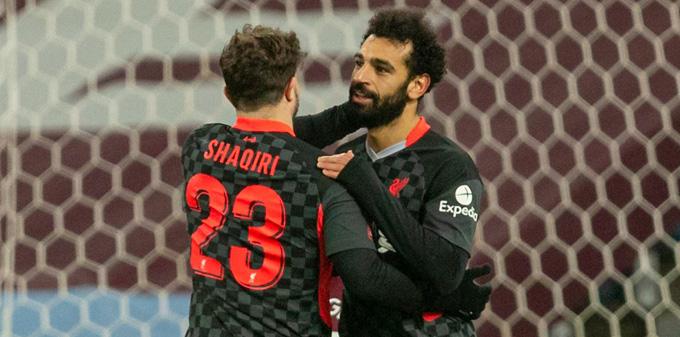Shqiri vào sân và lập cú đúp kiến tạo cho Mane và Salah kết liễu Aston Villa