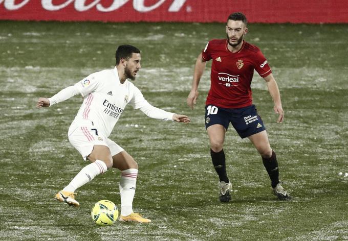 Hazard tiếp tục gây thất vọng trong trận đấu giữa Real và Osasuna