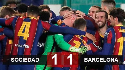 Kết quả Real Sociedad 1-1 Barcelona (pen: 2-3): Ter Stegen hóa người hùng đưa Barca vào chung kết Siêu cúp Tây Ban Nha