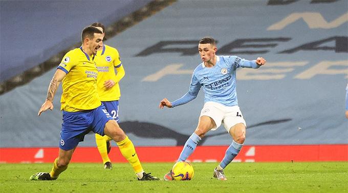 Foden ghi bàn duy nhất trong trận Man City vs Brighton