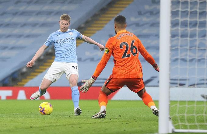 De Bruyne có một màn thể hiện xuất sắc trong trận Man City vs Brighton