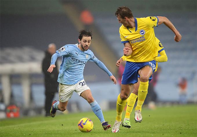 Silva chỉ sút trúng cột dọc trong trận Man City vs Brighton