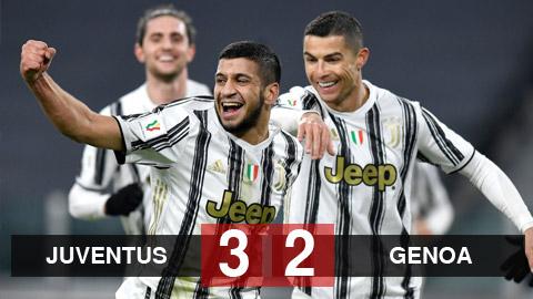 Kết quả Juventus 3-2 Genoa: Bà đầm già nghẹt thở vào tứ kết Coppa Italia