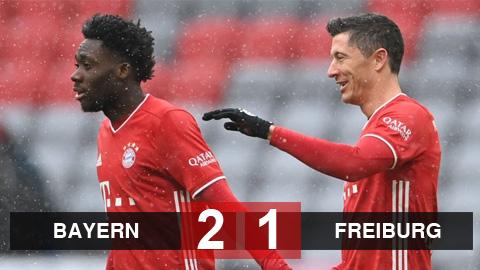 Kết quả Bayern Munich 2-1 Freiburg: Lewandowski ghi bàn, Bayern dứt mạch thua