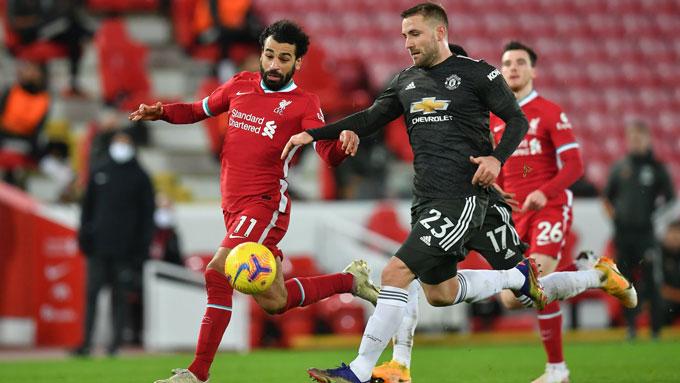 Salah hoàn toàn bất lực trước Luke Shaw
