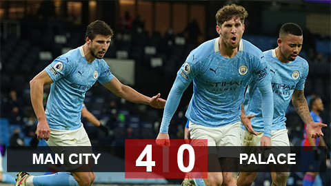 Kết quả Man City 4-0 Crystal Palace: Stones rực sáng đưa Man Xanh lên nhì bảng