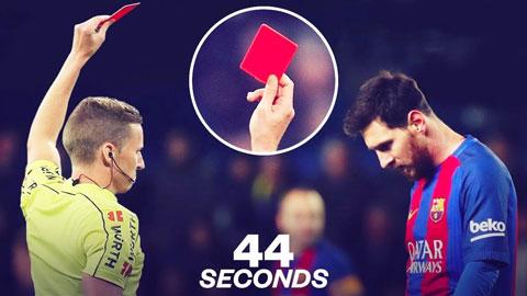 Messi lần đầu nhận thẻ đỏ ở Barca: Thêm ''dấu ấn'' mới