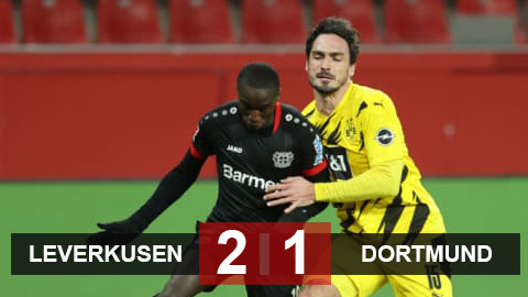 Kết quả Leverkusen 2-1 Dortmund: Diaby rực sáng, Leverkusen leo lên nhì bảng