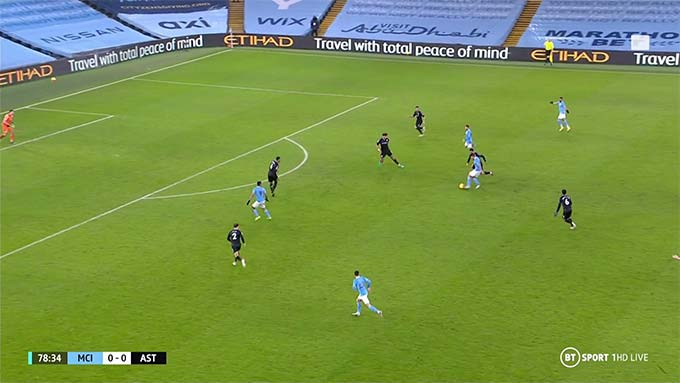 Sau một vài nhịp xử lý, Rodri chuyền bóng cho Bernardo Silva dứt điểm tung lưới Aston Villa
