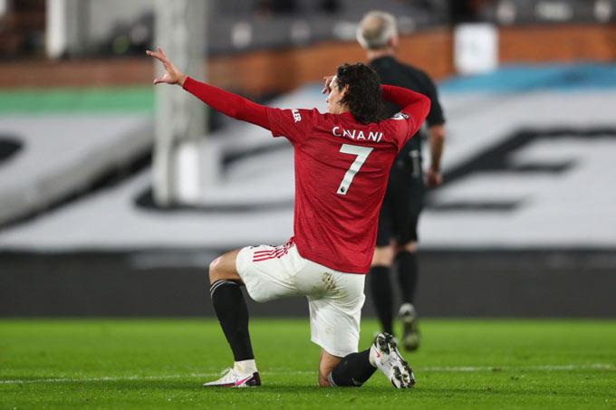 Cavani ghi bàn trong 4 trận sân khách liên tiếp cho MU