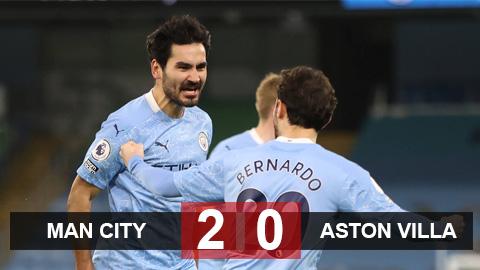 Kết quả Man City 2-0 Aston Villa: Man City nhọc nhằn lên nhì bảng