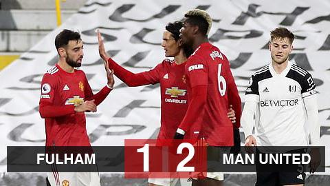 Kết quả Fulham 1-2 Man United: Quỷ đỏ trở lại đỉnh bảng