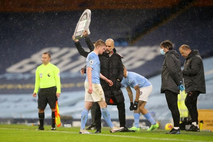 De Bruyne có dính chấn thương dài hạn sau trận Man City vs Aston Villa?