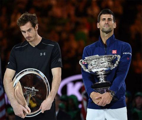 Murray (trái) thua Djokovic ở bốn trận chung kết Australian Open (2011, 2013, 2015-2016)