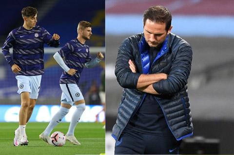 Chelsea sa sút một phần do các tân binh đắt giá như Timo Werner (giữa) hay Kai Havertz ((trái) chưa hòa nhập và HLV Lampard (phải) trốn tránh trách nhiệm