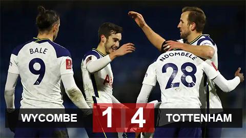 Kết quả Wycombe 1-4 Tottenham: Spurs vào vòng 5 FA Cup