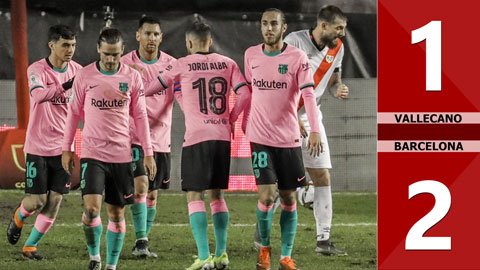 Vallecano vs Barcelona: 1-2 (Vòng 1/8 Cúp nhà vua Tây Ban Nha 2020/21)