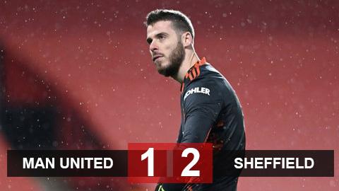 Kết quả MU 1-2 Sheffield: Thua đội cuối bảng, MU nguy cơ bị Man City bỏ xa