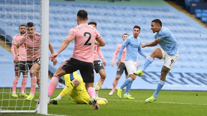 Jesus ghi bàn duy nhất cho Man City trước Sheffield United