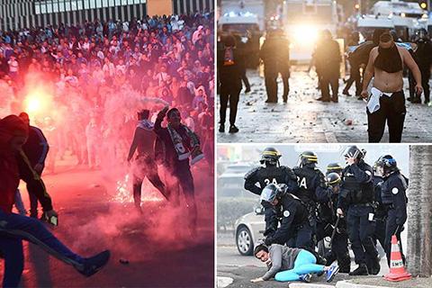 Cảnh sát bạo loạn trấn áp những fan quá khích của Marseille