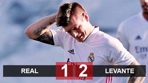 Real 1-2 Levante: Los Blancos nguy cơ bị Atletico bỏ xa 10 điểm