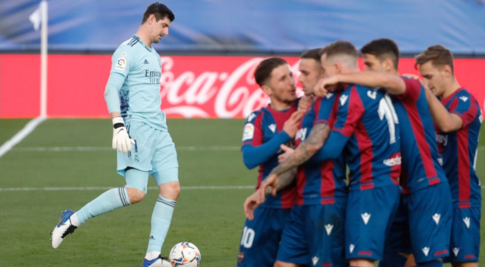 Thất bại trước Levante là trận thua thứ 8 từ đầu mùa của Real