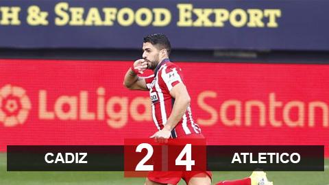 Cadiz 2-4 Atletico: Suarez lập cú đúp, thầy trò Simeone chễm chệ đỉnh bảng
