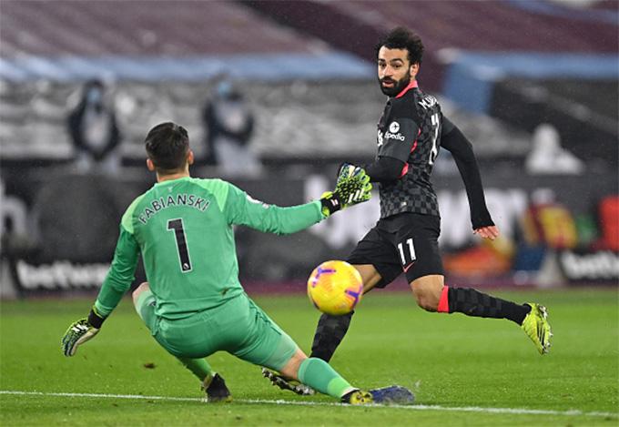 Bàn thắng thứ 2 của Salah trong trận West Ham vs Liverpool