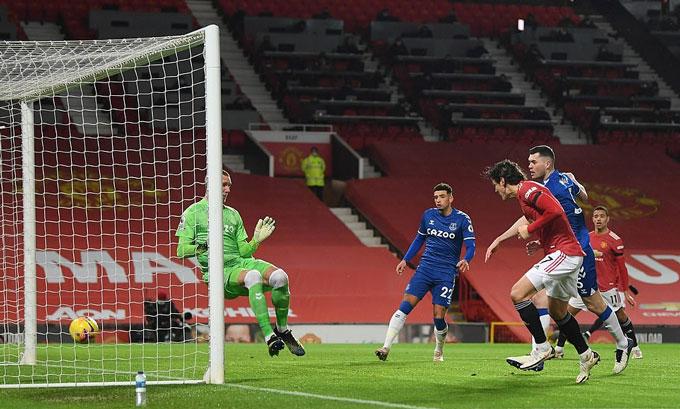 Cavani ghi bàn song không thể giúp MU chiến thắng