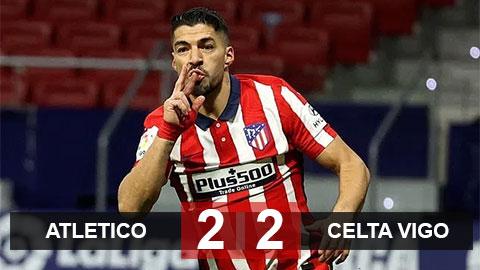 Atletico 2-2 Celta Vigo: Suarez không gánh nổi Atletico