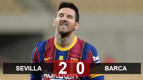 Sevilla 2-0 Barca: Messi hết phép, Barca thất thủ trước Sevilla