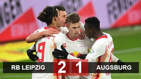 RB Leipzig 2-1 Augsburg: Bám sát ngôi đầu của Bayern