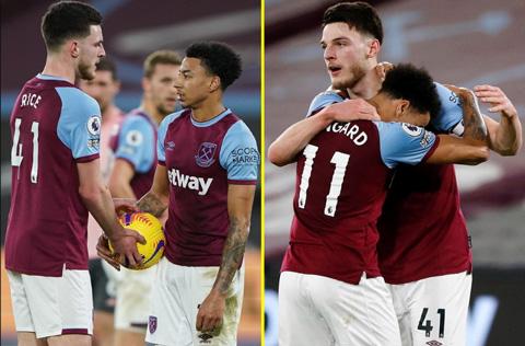 Lingard tranh đá penalty với Rice nhưng sau đó vẫn chạy lại chia vui cùng đội trưởng của West Ham