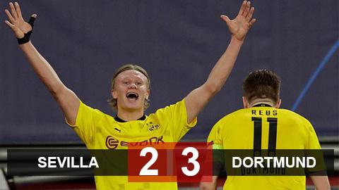 Sevilla 2-3 Dortmund: Haaland rực sáng giúp Dortmund lội ngược dòng trên sân khách
