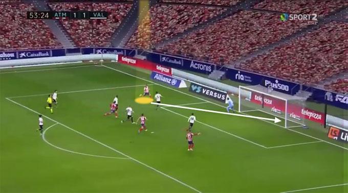 Chân sút người Uruguay làm rất tốt công việc của mình với pha sửa lòng từ góc hẹp đưa bóng nằm gọn trong lưới Valencia