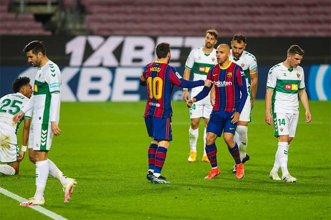 Braitwaite và Messi phối hợp ăn ý khai thông bế tắc ở đầu hiệp 2