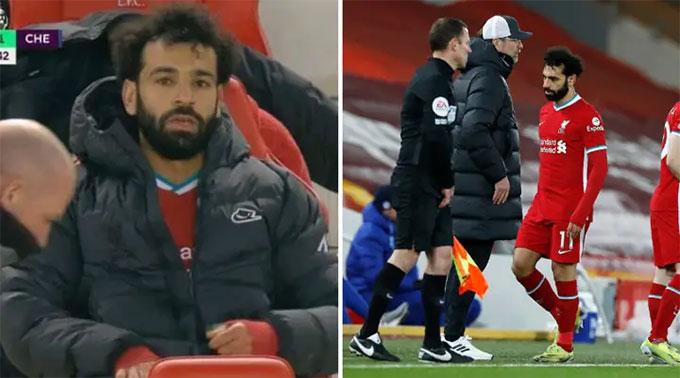 Salah bị thay ra sau 1 giờ bóng lăn