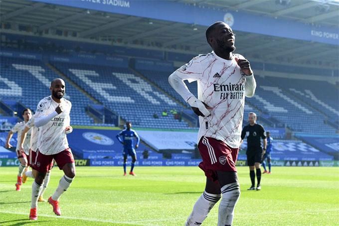 Nicolas Pepe góp công lớn giúp Arsenal lội ngược dòng trước Leicester City