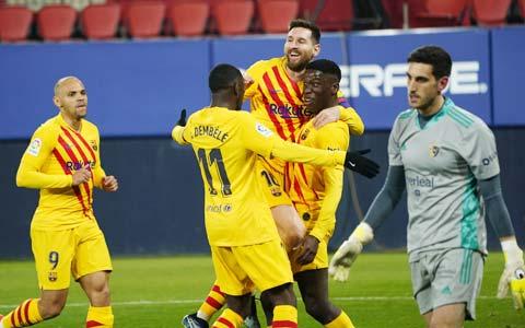 Barca xuất sắc đánh bại Osasuna để cán mốc trận thắng thứ 8 liên tiếp trên sân khách tại La Liga