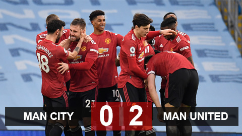 Kết quả Man City 0-2 MU: Quỷ đỏ kéo sập mạch thắng của Man City