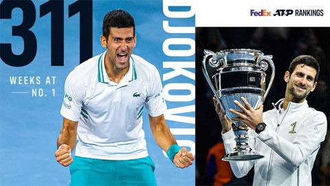 Djokovic xô đổ kỷ lục giữ ngôi số một thế giới của Federer