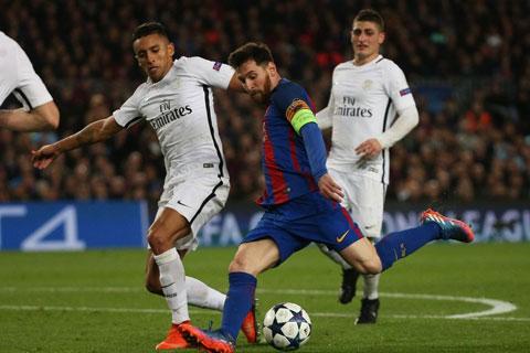 4 năm trước, PSG của Marquinhos (trái) từng thắng Barca 4-0 ở lượt đi nhưng để thua 1-6 ở lượt về và bị loại