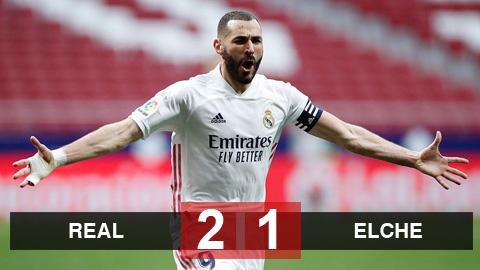 Real 2-1 Elche: Real chiếm ngôi nhì bảng của Barca