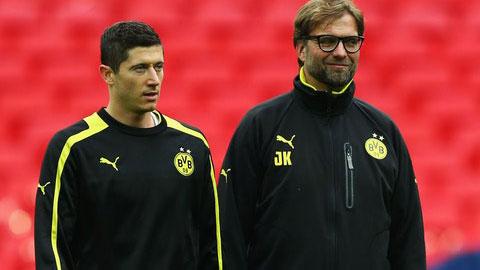 HLV Klopp và Lewandowski khi còn ở Dortmund