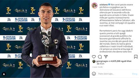 Ronaldo chia sẻ niềm vui trên trang cá nhân