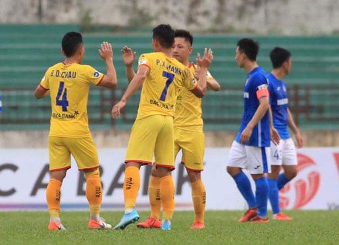 SLNA có chiến thắng đầu tiên tại V.League khi đánh bại Than Quảng Ninh ở vòng 4 - Ảnh: Phan Tùng