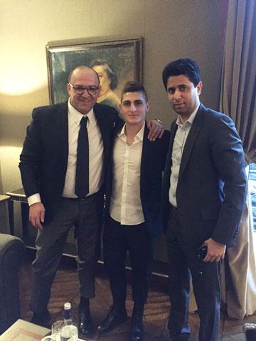 Luật sư Di Campli (trái) và Verratti trong ngày ra mắt PSG năm 2012