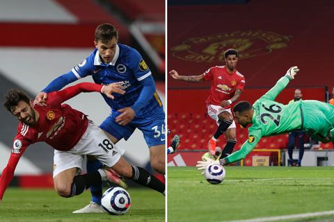 Fernandes bị Veltman phạm lỗi ngay sau khi kiến tạo cho Rashford ghi bàn gỡ hòa 1-1 ở trận MU vs Brighton