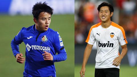 Take Kubo (trái) trong màu áo Getafe vừa có cuộc đối đầu thú vị với Lee Kang-in (Valencia) ở vòng 25 La Liga